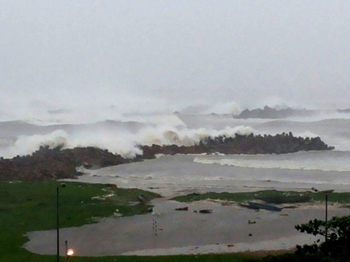A view of Cyclone Hudhud with heavy rain fall inside the Naval Harbour, North of Visakhapatnam on October 12, 2014.