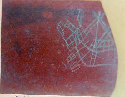 அழகன்குளம் அகழ்வாய்வில் கண்டெடுக்கப்பட்டகப்பல் உருவம் வரையப்பட்ட பானை ஓடு
