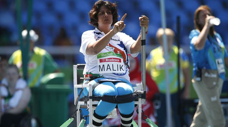 India's Deepa Malik gestures as she competes in the women's final shot put F53 athletics event during the Paralympic Games at the Olympic Stadium in Rio de Janeiro, Brazil, Monday, Sept. 12, 2016. Malik won the silver. (AP Photo/Mauro Pimentel)